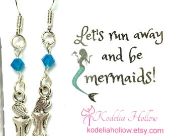 Mermaid Gift Card Earrings, Friendship gift, Mermaid Earrings, Mermaid Jewelry, Ocean, Beach jewelry, Mermaid, Gift Earrings Gift card