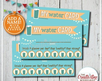 Daily Water Punch Card | Editable Name | Water Tracker | Orange | Healthy Punch Card | Printable Reward Cards | Instant Download