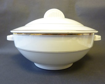 Vintage French tureen, white with gold trim. French country kitchen