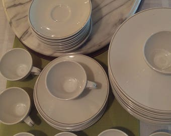Mid-Century Kenmark vintage table setting, white and platinum, dinner plates, salad dessert plates, tea cups and saucers, fine dining
