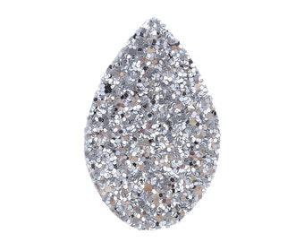 """2pcs/10pcs Faux Leather Silver Paillette Sequin Teardrop Pendant 55mm(2 1/8"""") x 35mm(1 3/8"""") Drop Earrings Glitter Pendants Sparkle Charms"""