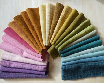 Hand Dyed Felted Wool Fabric in a Collection of Colors perfect Wool for Applique,  Perfect Rug Hooking 100% Wool by Quilting Acres