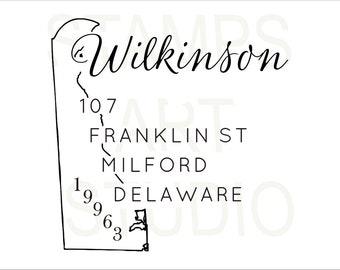 Delaware, Square Stamp, Self Inking Address Stamp, Address Stamp, Custom Address Stamp, Return Address Stamp, Housewarming Gift - DE