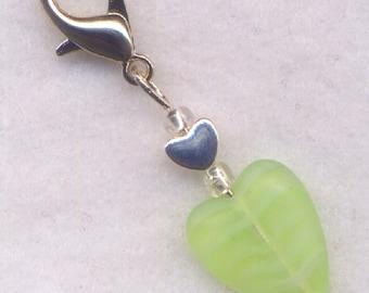 Heart Stitch Marker Clip Green Sorbet Stripey Lickety Lime Heart Single /SM216B