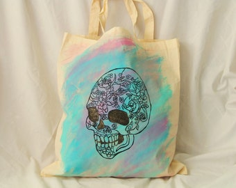Tie Dye, Hand Painted Sugar Skull Reusable Cloth Grocery Tote, Market Shopping Bag, Day of the Dead Tote Bag for Beach or Gym, Fold Up Tote