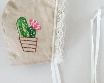 Cactus-Embroidered  lace bonnet // baby bonnet/linen bonnet.