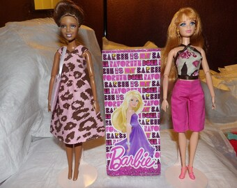 OVERSTOCK SALE - 2 outfits, 1 purse, 1 pair of shoes and a gift bag for Fashion Dolls - bgs16