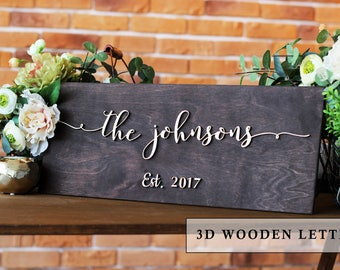 Wedding Last Name Sign, Established Family Sign, Last Name, Wall Decor, Family Name gift for couple | Family Name Sign | Wedding Sign Gift r