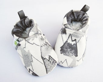 Organic Vegan Knits Mountains in Grey / All Fabric Soft Sole Baby Shoes / Made to Order / Babies Booties Shower Gift
