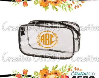Feather Monogram Clear Makeup Bag | Custom Makeup Bag | Clear Makeup Bag Wedding | Bridesmaid Gift | Bridesmaid Gift Idea | Clear Clutch