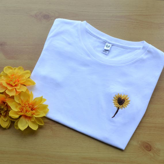 Embroidered T Shirt Sunflower Hand Embroiered