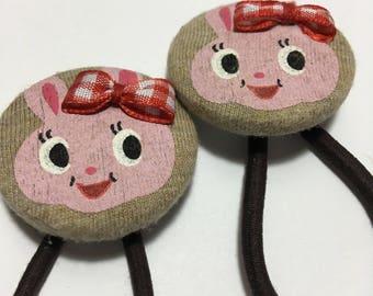 Handmade baby, toddler, girls velvet covered button Ponytail holder(rabbit)