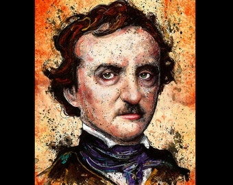 """Print 11x14"""" - Edgar Allan Poe - Poetry Author The Raven Nevermore Murders in the Rue Morgue Dark Art Horror Gothic Mustache Pop Lowbrow"""