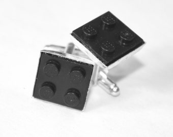 Black Square Lego Plate Cuff Links - Silver plated