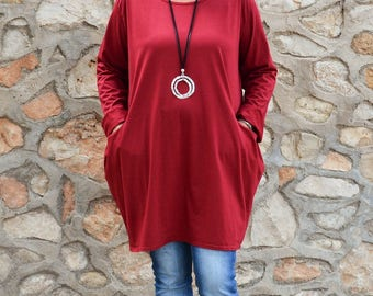 Lagenlook Womens Plus Size Tunic Top, Red Wine, Womens Clothing, Bohemian, Lagenlook Clothing, 14 16 18 20 22 24 26 28  XL XXL XXXL  8770