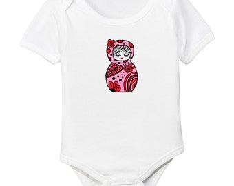 Vintage Russian Doll Organic Cotton Baby Girl Bodysuit