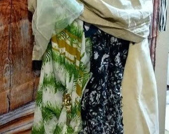 31-40 waist handmade upcycled  skirt lagenlook boho asym mixed fabrics stretch waist