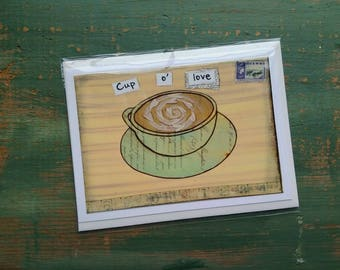 SALE! Coffee Card, Coffee Art Card, Cappuccino, Coffee Art, Whimsical Coffee, Sale Card, Clearance Card, greeting card note card, Cup o'love