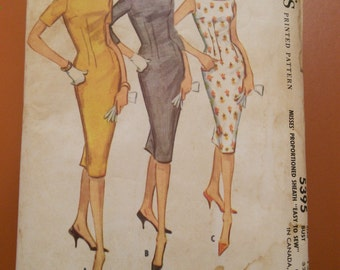 McCalls 5395 Sheath Dress Kick Pleat Vintage Sewing Pattern 1960s 60s Size 12 Easy to Sew Wardrobe Staple