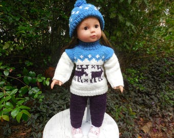 Hand knitted outfit consisting of a sweater,  pants/leggings, and a  hat.  It was made to fit American Girl and similar 18' dolls.