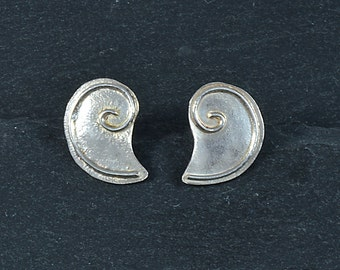 Silver Shell Studs, Sterling Earrings, Free Delivery in UK