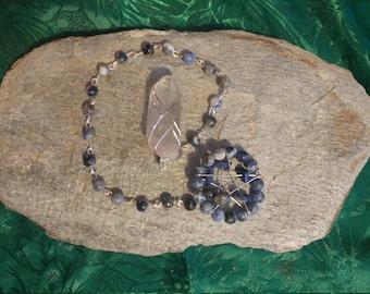 Handmade Pentacle Dowsing Pendulum - Sodalite and Clear Quartz Point