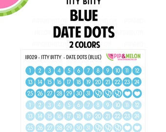Itty Bitty Blue Date Dot Stickers   2 Colors   72 Kiss Cut Stickers   .25 inch   Small Planners, Inserts   IB029