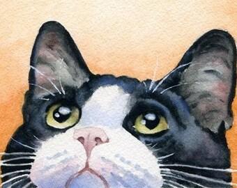 TUXEDO CAT Art Print Signed by Artist DJ Rogers
