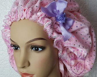 Velvet Satin lined Bonnet with comfortable fit for natural hair and all hair type