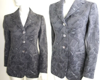 Vintage 1980s 1990s Moschino Couture Gray Wool Alphabet Soup Blazer