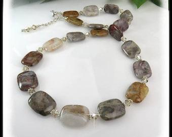 Flower Jasper Necklace, Brown and Tan Jewelry, Gemstone Jewelry, Chunky Jewelry,
