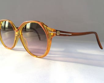 80s Vintage Austrian Made Saphira Womens Teen Girl Four-Leaf Clover Amber NOS Sunglasses