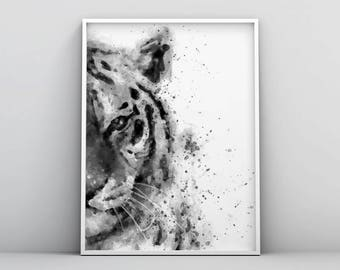 Tiger Watercolor Printable, Black and White Tiger, Tiger Painting, Abstract Digital Download, Woodland Wall Art, Forest Animal Modern Poster