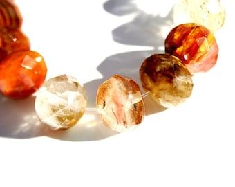 Cherry QUARTZ faceted rondelles 13mm