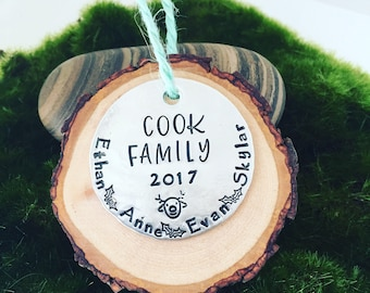 Rustic Christmas ornament- personalized ornament Christmas decoration- family gift idea-custom Christmas ornament