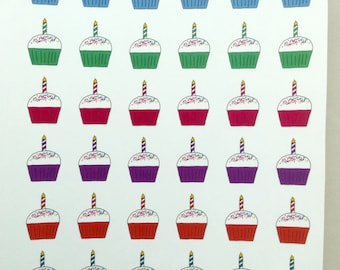 Cupcake Candle Birthday Planner Stickers