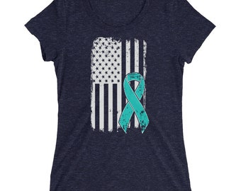 Ovarian Cancer Shirt - Ovarian Awareness - American Flag - Cancer Ribbon - Ovarian Family Support - Survivor Ribbon Gift Ladies' Fitted T Sh