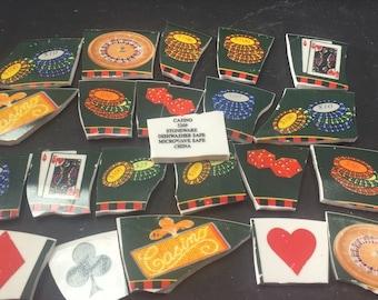 CASINO GAMBLING ceramic cut up broken plate china mosaic tiles  23pcs .pique assiette- id 30
