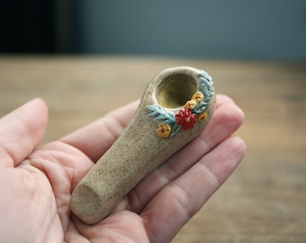 Ceramic Pipe, Wildflower Collection, Raised Floral Design, Handmade, Unique Pipe, Boho Style, Tobacco Smoking Pipe, Flower Child Hippie
