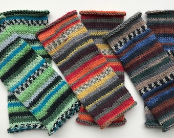 Fingerless gloves striped wool hand knit - Valazquez, Forest Fancy, Turner
