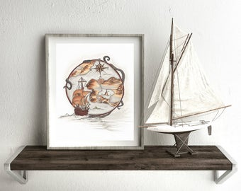 "Fine Art Print ""Nautical View"" // Original Artwork By Kayla Townsend // Ink On Paper"