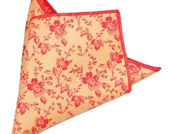 Apricot Floral Pocket Square | floral handkerchief | floral wedding | mens handkerchief| wedding ideas | rose pocket square