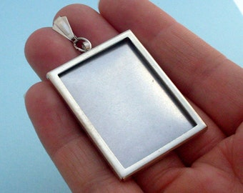Silver, Rectangular, Pendant, Setting Frame, Mounting, 207S, DIY, vintage, mothers day, supplies,jewellery women gift Harry Potter