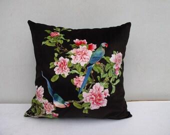 Flower Bird Pillowcase Peony Pillow Bird Cushion Cover  Decorative Velvet Pillow Black Pillow Sitting Birds