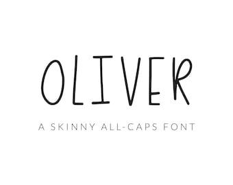Oliver Font | Skinny All-Caps Font | Sans Serif Font | Font Download | Design Resource | OTF, TTF, Webfont | Modern Font | Simple Font