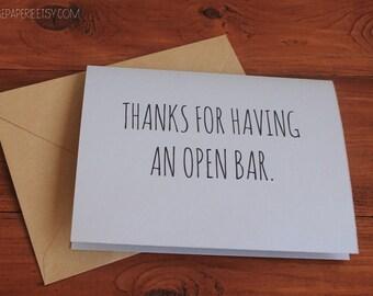 Funny Wedding Card / Open Bar / Humor Wedding Card / Unique Wedding Card / Cheeky Marriage Card