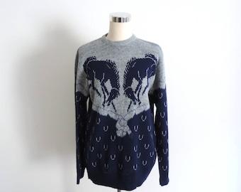 Horse Sweater Bucking Bronco M/L