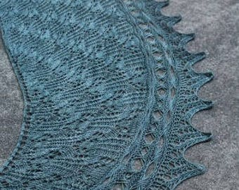 Green/Gray Effusion Pure Merino Wool and Cashmere  Lace Shawl or Wrap