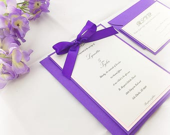 Wedding invitation with bow, handmade wedding invitation, purple wedding invitation