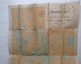 1900s Muskoka Lakes map/Vintage Map of Muskoka Lakes/Toronto Canada map